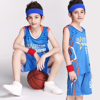 2017 Newest Kids Basketball Jersey Student sports Uniform Men Team match Suit Shirt and Short Customizable Name Number