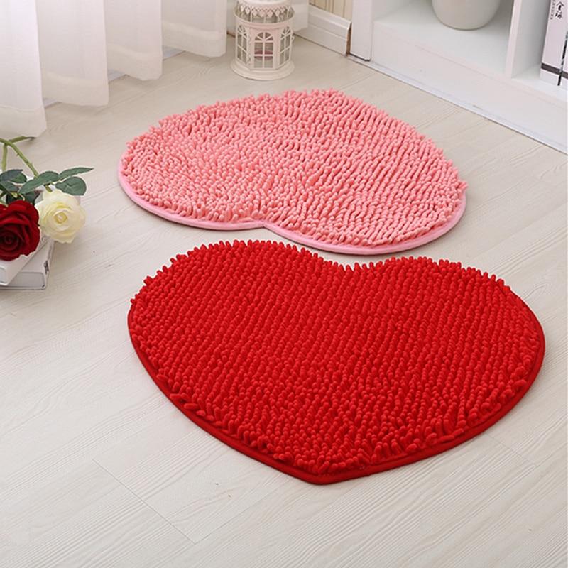 1pcs home decor fluffy 40*50cm love heart shape non-slip bath mats bathroom carpet set 8 colors shower mat toilet bathroom rugs