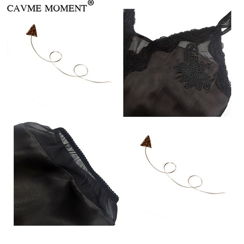 CAVME Luxury Silk Pajama Sets Women Ladies 39 s Lace Spaghetti Strap Shorts Sleepwear Solid Color Black 2 Pieces Homewear for 135G in Pajama Sets from Underwear amp Sleepwears