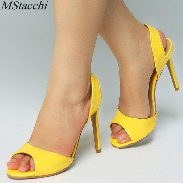 f6c5f5d151d86e Mstacchi classique à la mode femmes sandales Sexy jaune mince à talons  hauts chaussures pour femmes