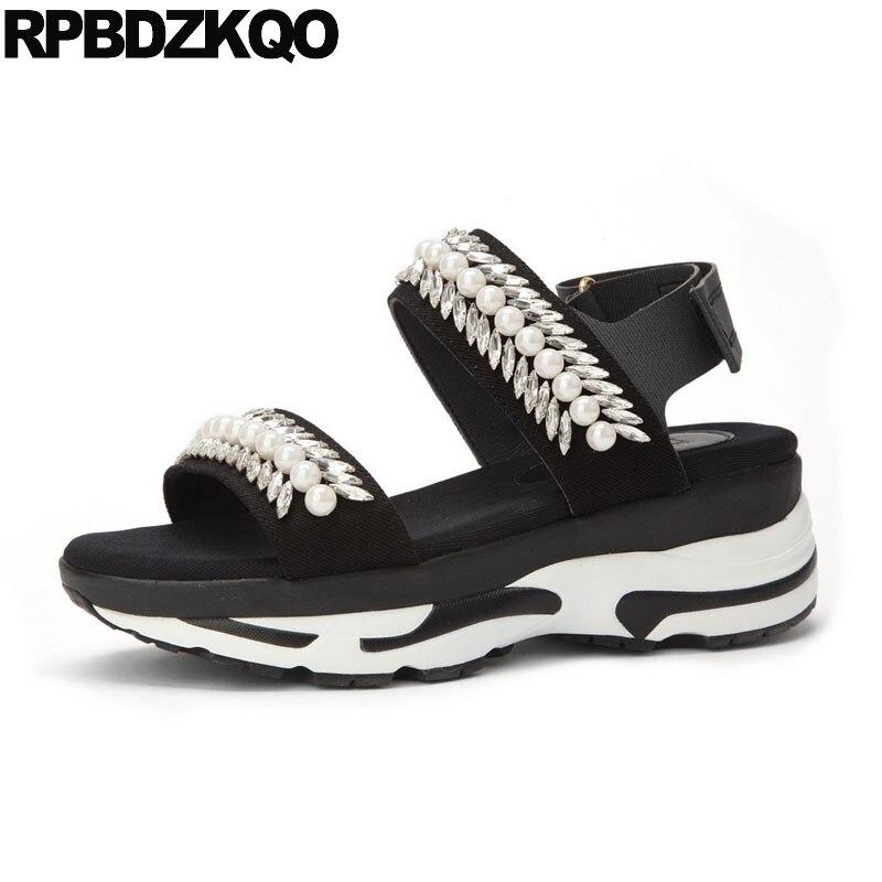 Women Pearl Double Strap Sandals Black Diamond Flat Platform Beaded Luxury Shoes Sneakers Flatform Jewel Crystal Rhinestone цена
