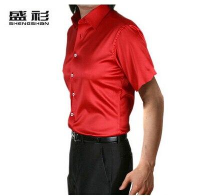 ZOEQO, новинка, брендовая летняя стильная Высококачественная шелковая мужская рубашка с коротким рукавом, повседневная мужская рубашка, camisa masculina camisas hombre - Цвет: 14 red