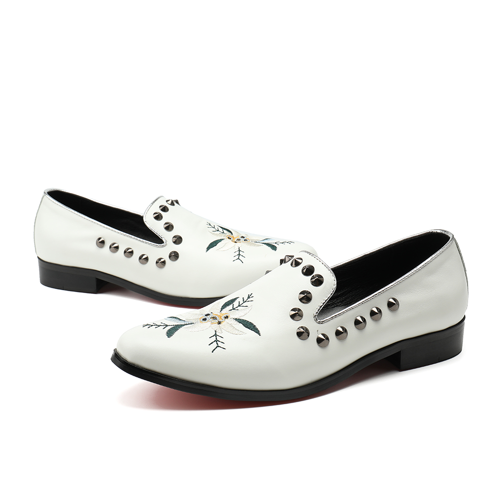 White Men Shoes Handcrafted Designer Loafers Smoking Slipper Wedding Dress Shoes Men Rivets Party Flats Plus Size 38-46 mabaiwan fashion men shoes handcrafted embroidery flowers designs loafers smoking slipper wedding dress shoes men party flats