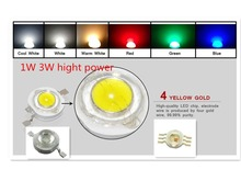 30pcs led 1W 3W 35mli 120lm 45mli 230LM LED Bulbs High power Lamp White/Warm cold white red green blue yellow good Taiwan Chips