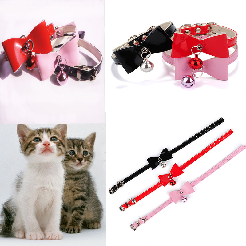 Safety Elastic Quick release bow tie with bell small dog cat collars safe soft velvet 5 colors pet Products