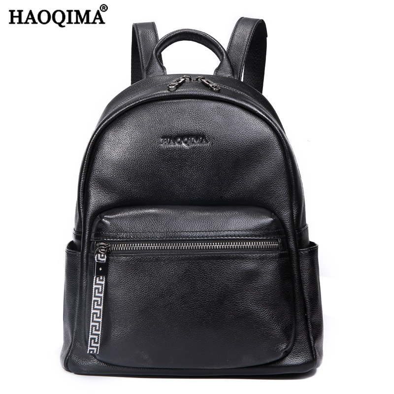 HAOQIMA Luxury Famous Brand New Design 2017 Genuine Leather Women Backpack Young Girl School Bags Back Pack Teenagers new arrival women genuine leather backpack young lady real leather backpack luxury female school bags with simple design e143