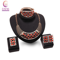 Romantic Jewelry Sets Rhinestone Crystal Necklace Earrings Bangle Ring Gold color Chokers Bridal Bijoux Accessories Sets