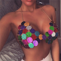 Sexy Cheat Cover Up Bra Chain Sequin Halter Bralette for 2019 Women Summer Beach Nightclub Party Jewelry