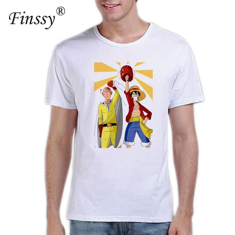 Saitama Oppai t shirt men Luffy One Punch Man Hero T-shirt men tops 2018 Fashion Cartoon Short Sleeve summer tops for Men