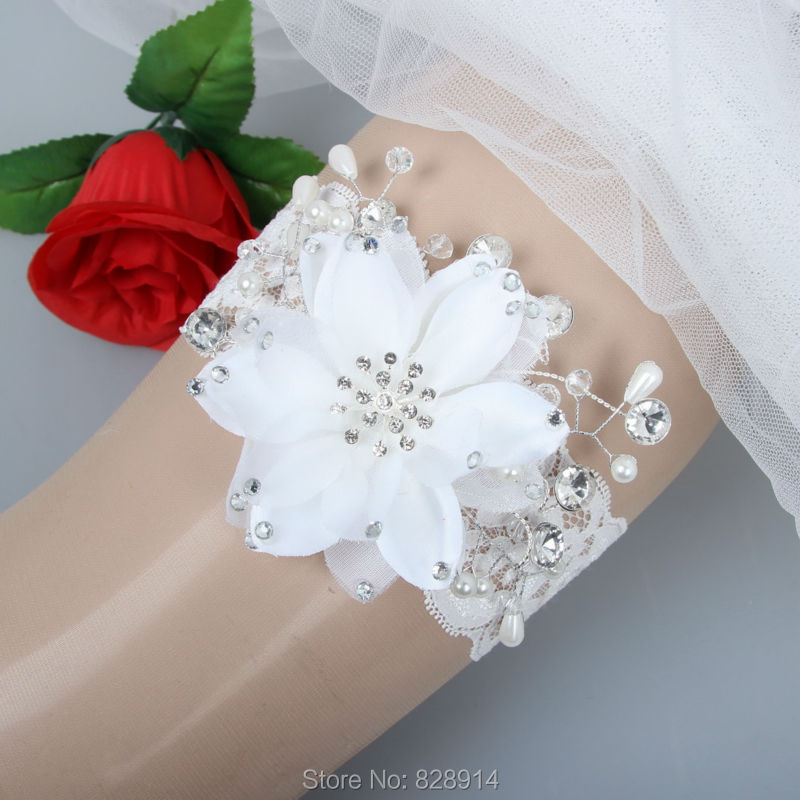 Fashion White Flower Stretched Lace bride Wedding Garter Handmade