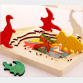 3D Multilayer Wooden Puzzle Toy Cartoon Animal Shape Infant Baby Early Educational Story Learning Children Favor Gift For Kids