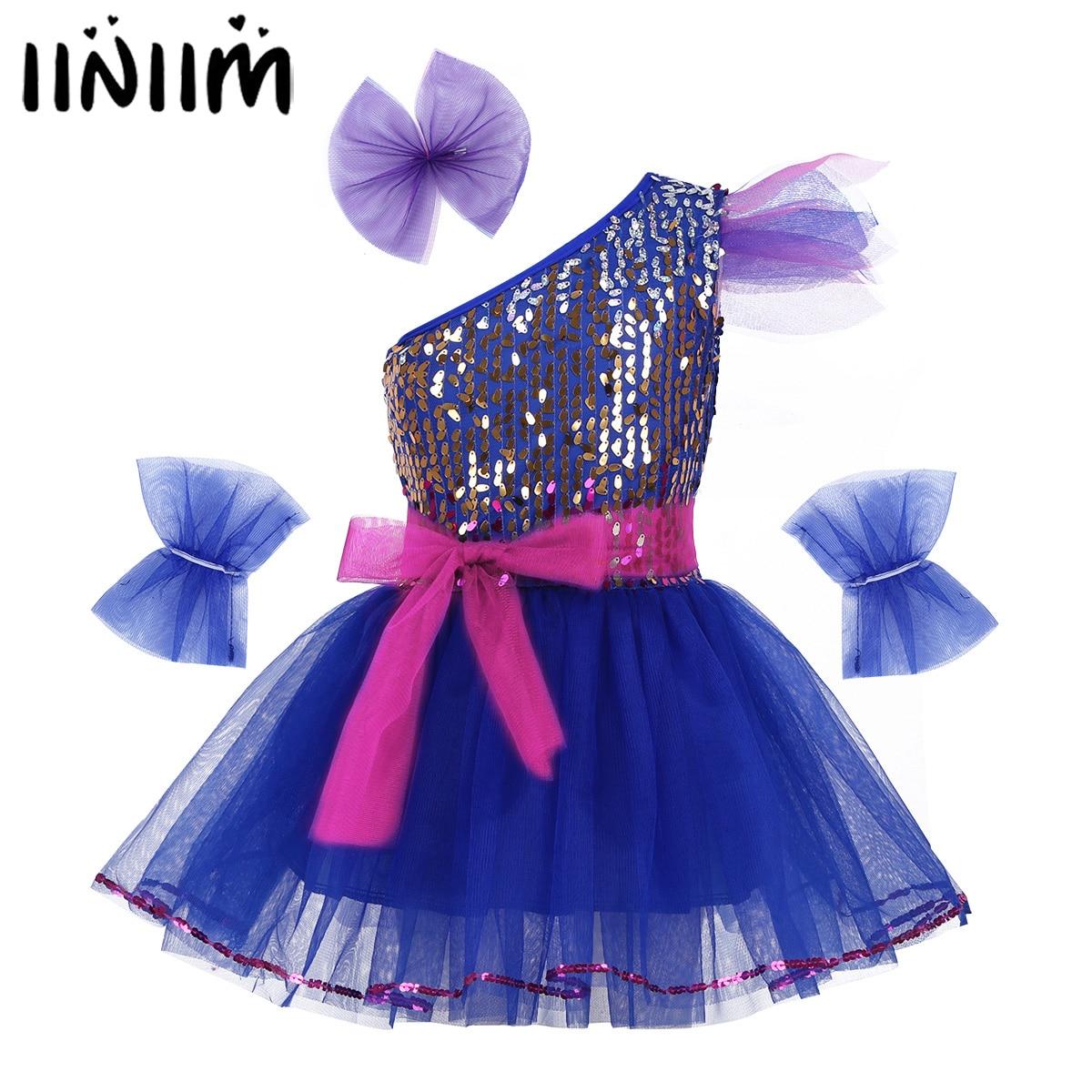 iiniim Kids Girls Leotard Dancewear Costume One-Shoulder Sparkly Sequins Mesh Dress with Hairclip Ballet Tutu Dance Dress