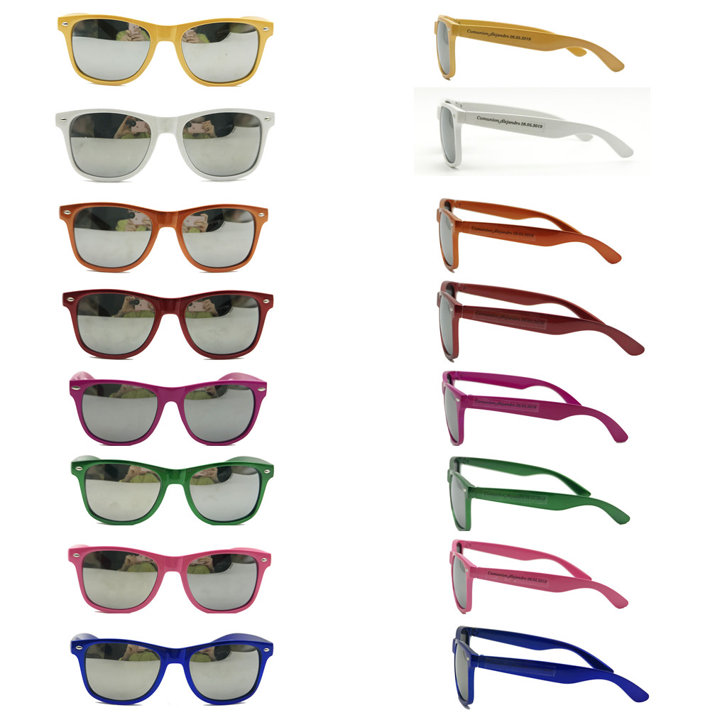 60 Pairs Pearl Bright Color Classic Sunglasses Customized Wedding Souvenir Custom Party Sunglasses with Mirror Lens