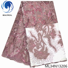 BEAUTIFICAL African Lace With Sequins Beads French Velvet Fabric Nigerian Tulle Sewing ML34N132