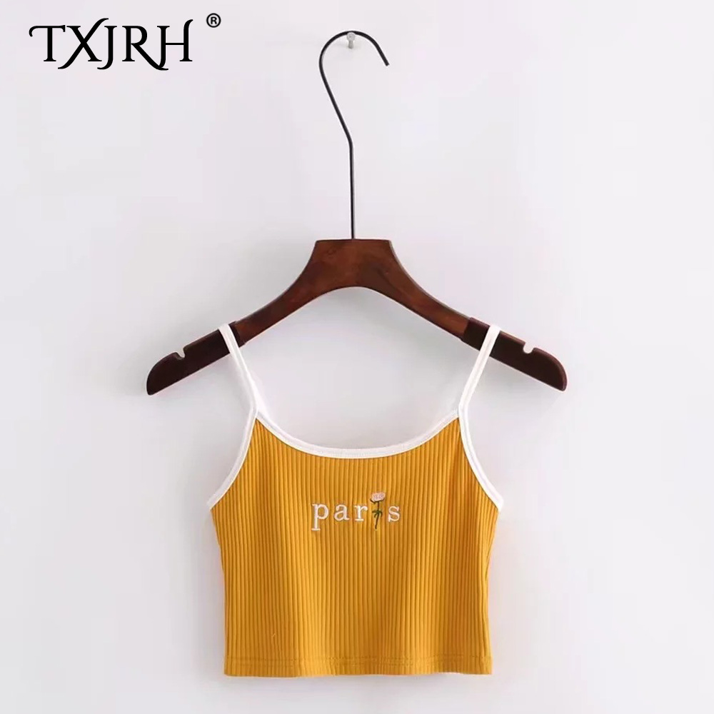 TXJRH Sexy Letter Floral Embroidery Fitness Slim fit Tight Sling Camis Tops Knitted Ribbed Striped Line Short Crop Tee 6 Colors
