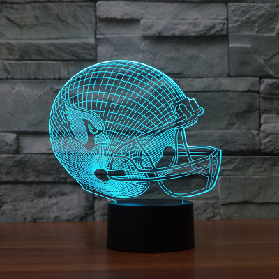 Hot NEW 7color changing 3D Bulbing Light Helmet Arizona Cardinals illusion LED lamp creative action figure toy Christmas gift