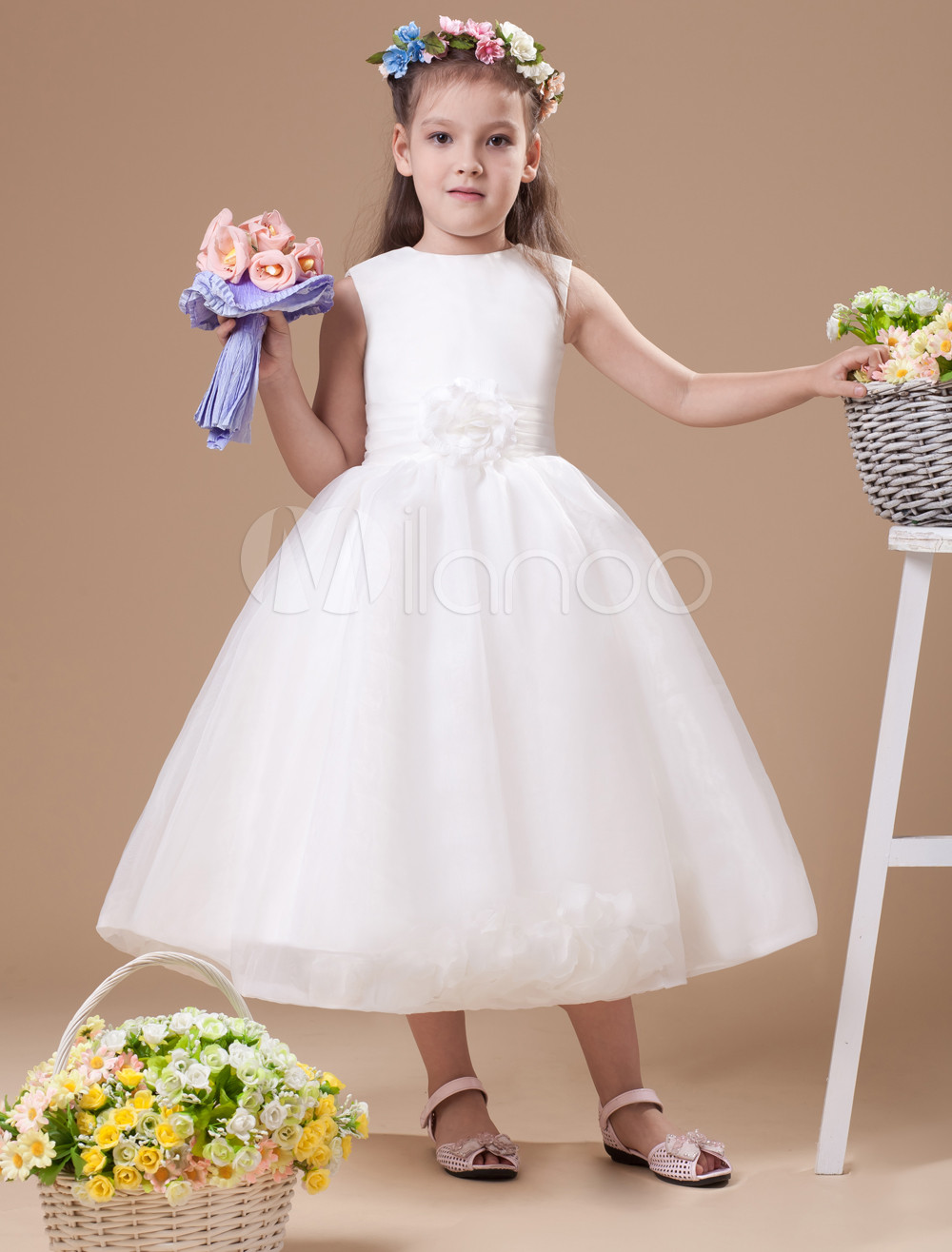 New Free Shipping Flower Girls Dresses For Wedding Gowns Girl Birthday Party Dress Long First Communion Dresses for Girls