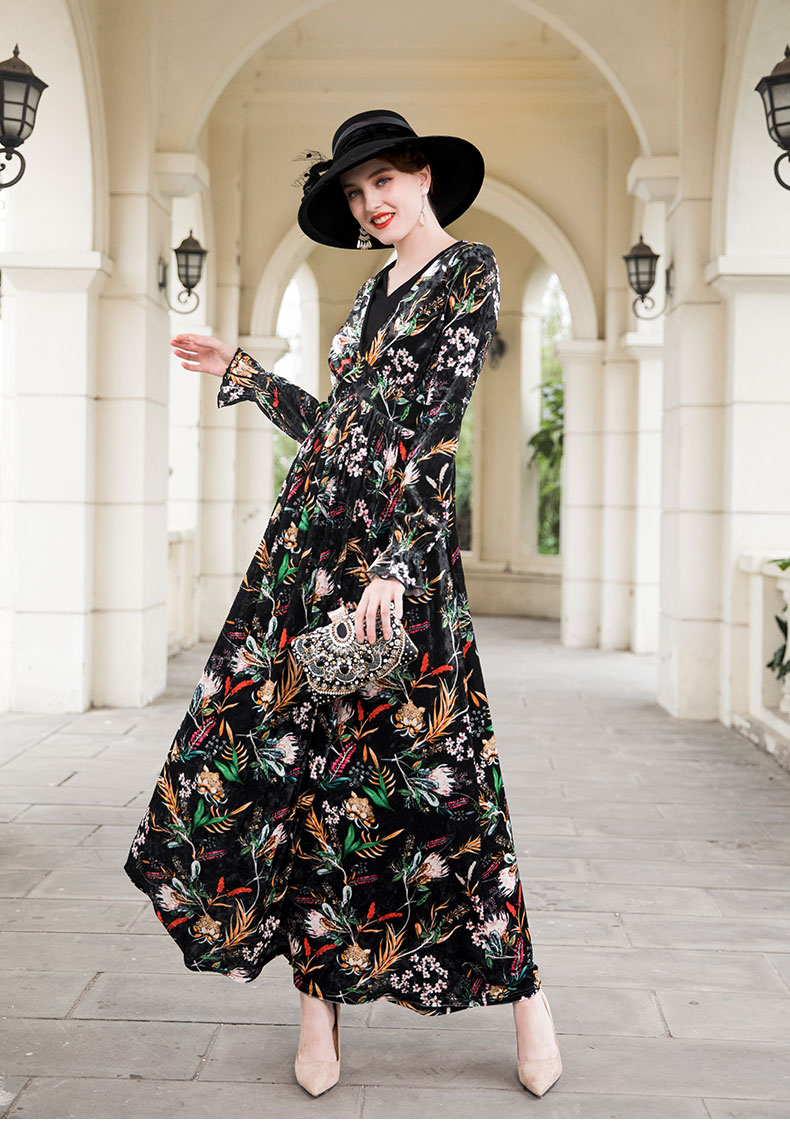 2018 Autumn Trench Dress Velvet Fall Butterfly Sleeves Maxi Dress Evening Party  Designer Dress Flowers Long Dress DZ8040 c5c104ad340a