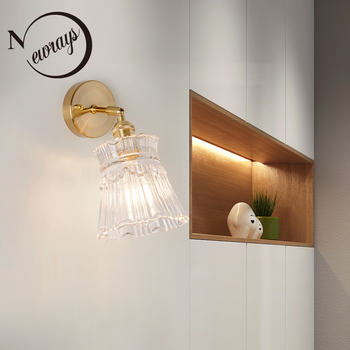 Modern loft glass shade wall light E27 220V brass head wall lamp for kitchen living room bedside bathroom study cloakroom aisle