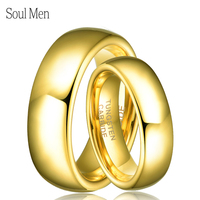 2pcs Lot 8mm And 6mm Tungsten Carbide Gold Ring For Men And Women Jewelry Wedding