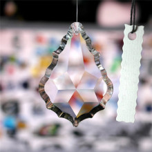 Maple Leaf Clear Chandelier Glass Lamp Prisms Parts Suncatcher Pendants Necklaces Chains Pendant For Women Jewelry 38MM(China)