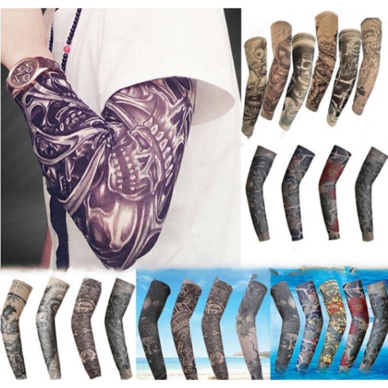 Fashion Tattoo Sleeves Arm Warmer Unisex UV Protection Outdoor Temporary Fake Tattoo Arm Sleeve Warmer Sleeve Mangas