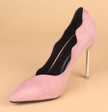 Spring Of 2015 The New South Korean Princess Shoes Black Suede Sexy Fashion Fine Pointed With Super High Heels Shoes Pumps Femal