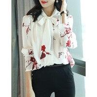 Elegant Spring Women's Shirt 100% Real Pure Silk Blouse Women Clothes 2019 Blouses Print Women Tops Office Lady Shirts ZT2253