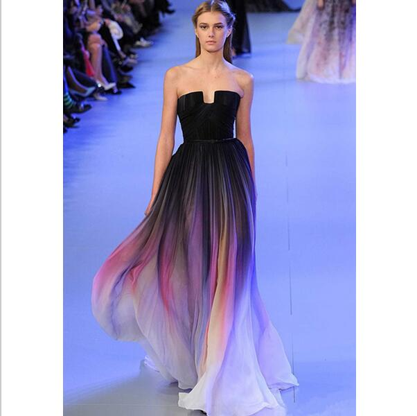 7c4fb44236f New Gradient Colorful Sexy Dresses Ombre Chiffon Prom Dress Evening Dress  Strapless with Pleats Women Dress