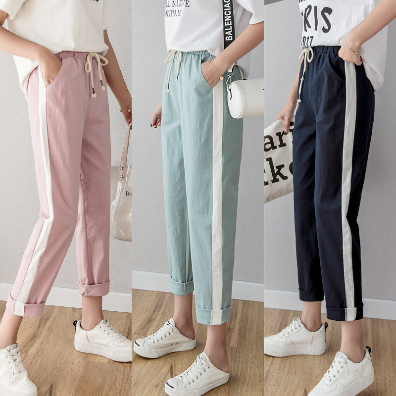 Summer Spring Cotton Linen Ankle Length Pants Women's Casual Trousers Pencil Casual Pants Striped Green Pink Women's Trousers
