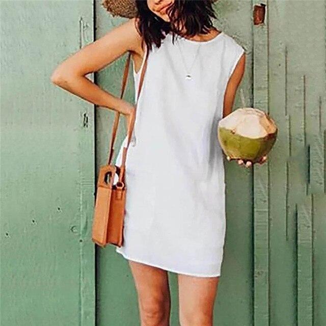 Jaycosin 2019 vestido de verão das mulheres casual o pescoço sem mangas sólido linho mini vestido com bolsos moda casual em linha reta