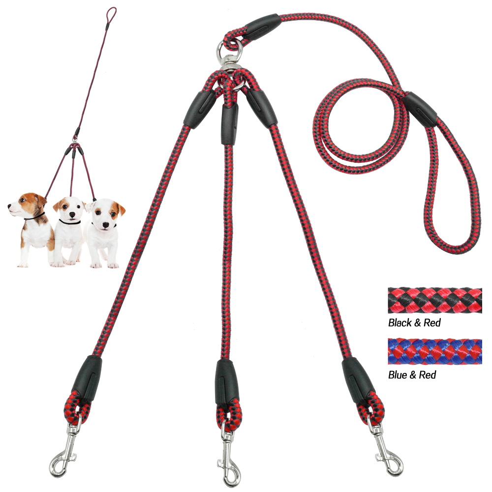 3 Dogs Leash Nylon Braided Rope Three Way No Tangle Couplers Pet Leads 1 Leash For 3 Dog Heavy Duty for Small Medium Large Pet