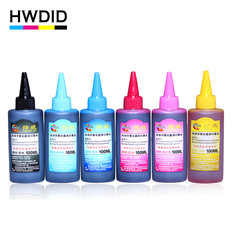 HWDID 6Color 100ML Universal Dye Ink Compatible Refill Ink For HP For CANON For EPSON For Samsung For Other Brand Inkjet Printer factory price for hp801 6pcs x 100ml dye ink for hp photosmart d7300 d7100 d6100 c7100 c6100 c5100 c8200 c3100 printer