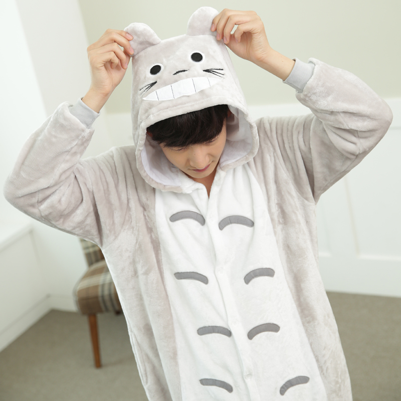 Lovely Cartoon Totoro Cat Onesie For Adults Large Size Flannel Pajamas Kigurumi For Halloween Cosplay Parties Overall Bodysui (7)