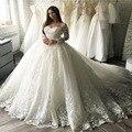 Vintage Luxury Crystal Big Ball Gown Satin Wedding Dress V-Neck Handmade Beaded See Through Back  Court Train vestido de noiva