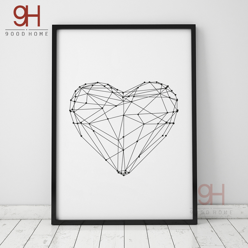 900d Geometric Heart Shape Canvas Art Print Painting Poster Wall Pictures For Home Decoration