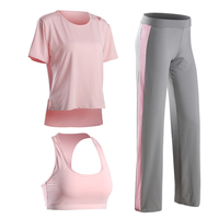 High Quality Fitness Women 3 Pieces Yoga Set Sport Bra Yoga Pants T Shirts Girl Gym