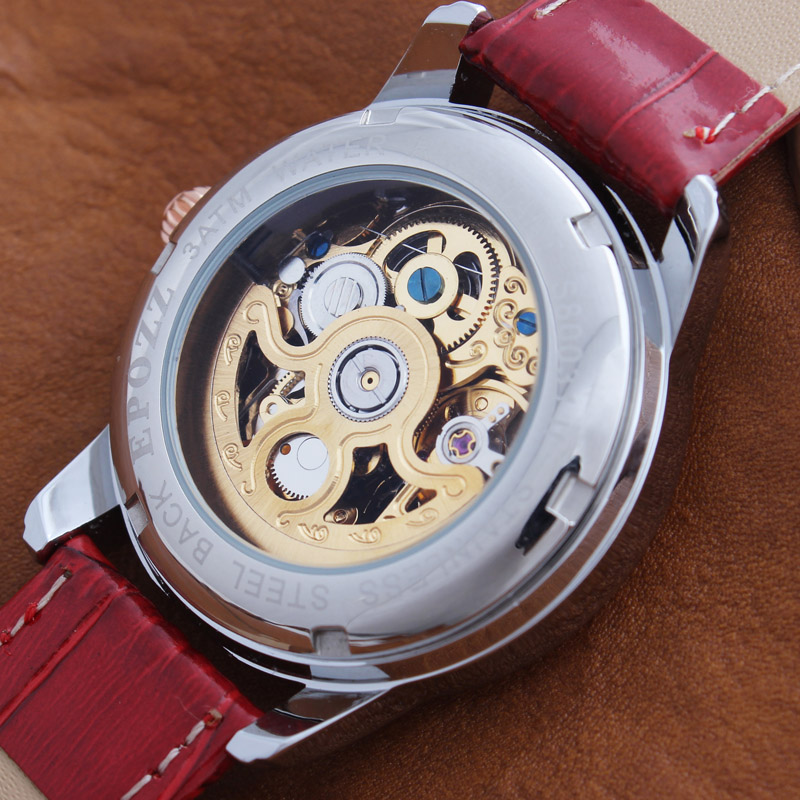 Epozz Butterfly Automatic Watch Mechanical Women Watches Leather Strap Ladies Casual  Red Female Clock Relogios Feminin