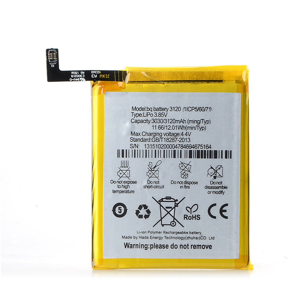 New 3120(1ICP5/60/71) Battery For BQ Aquaris M5 3.85V 3120mAh Replacement Mobile Phone Lithium Battery W0L07 P0.4