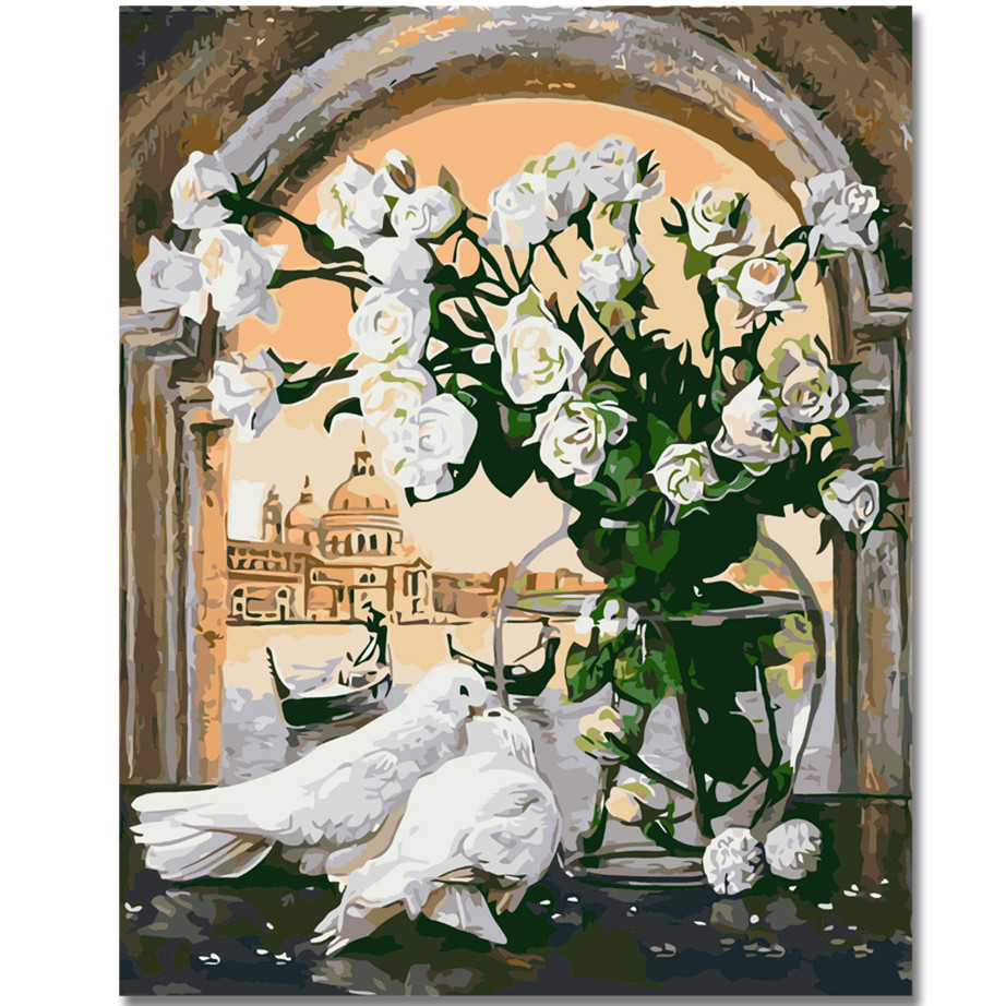 WEEN White Rose Flowers-DIY Oil Painting By Numbers,Framed Wall Picture,Oil Canvas Paint Numbers Home Decor Picture 40x50cm