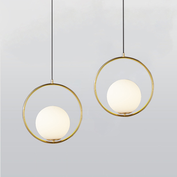 الشمال أضواء الزجاج الدائري قلادة معدن الذهب قلادة مصابيح غرفة المعيشة تركيبات المطبخ Hanglamp أدي