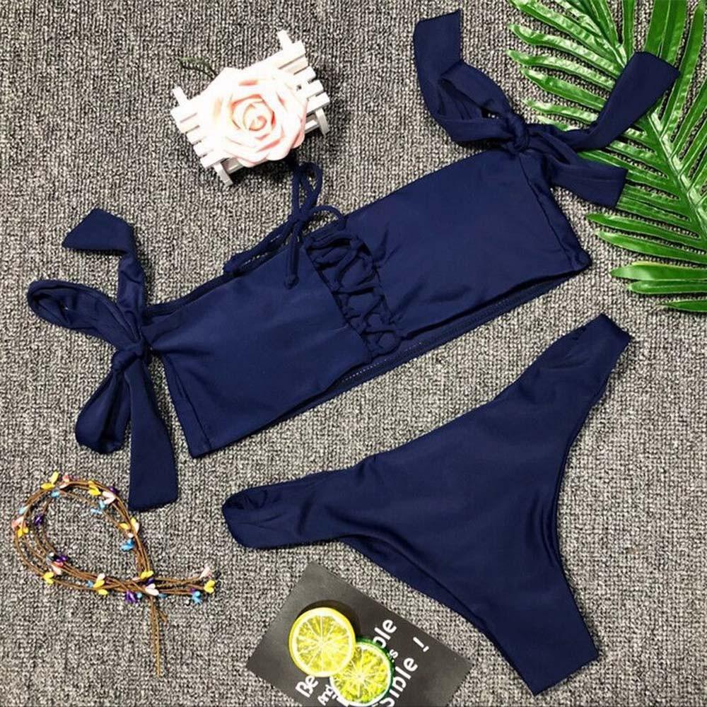 Womail Women Swimwear 2018 Sexy Bandage Bikini Set Solid Swimsuit Push-Up Padded Bra Swiming Suit Beachwear maio praia #1817