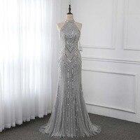 Серебристые Длинные вечерние платья с юбкой годе с высоким воротом бисером без рукавов Формальное вечернее платье Robe De Soiree YQLNNE
