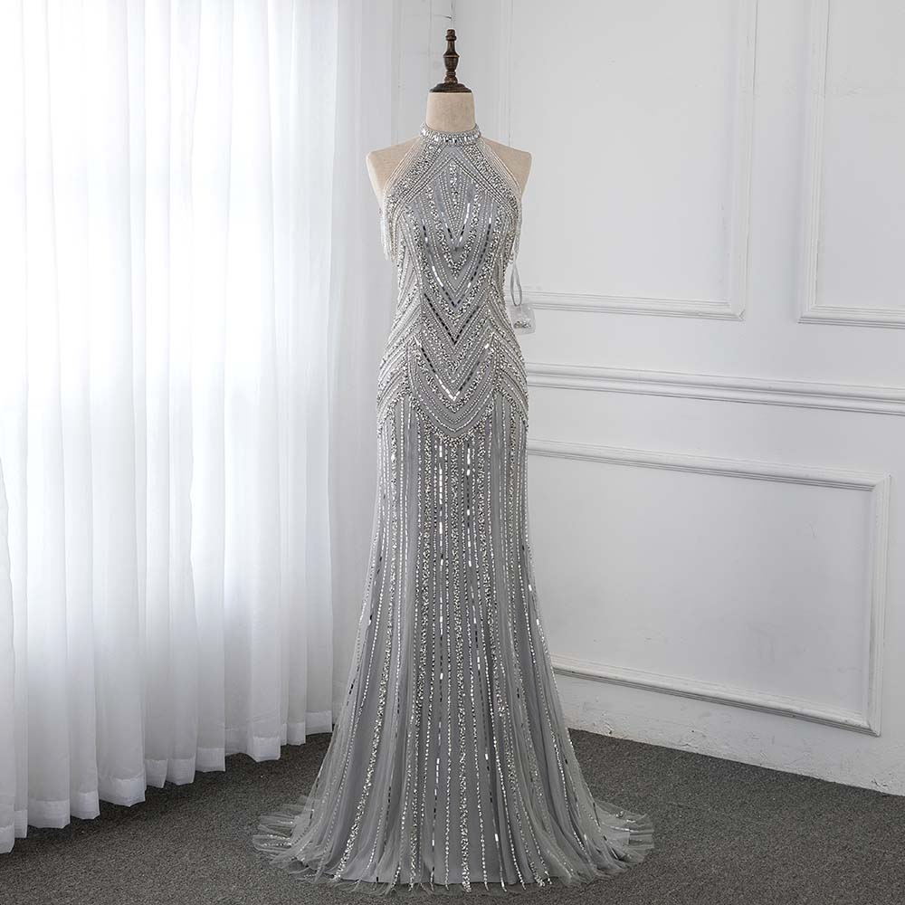 Silver Long   Evening     Dresses   Mermaid High Neck Beaded Sleeveless Formal   Evening   Gown   Dress   Robe De Soiree YQLNNE
