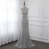 Silver Long Evening Dresses Mermaid High Neck Beaded Sleeveless Formal Evening Gown Dress Robe De Soiree YQLNNE