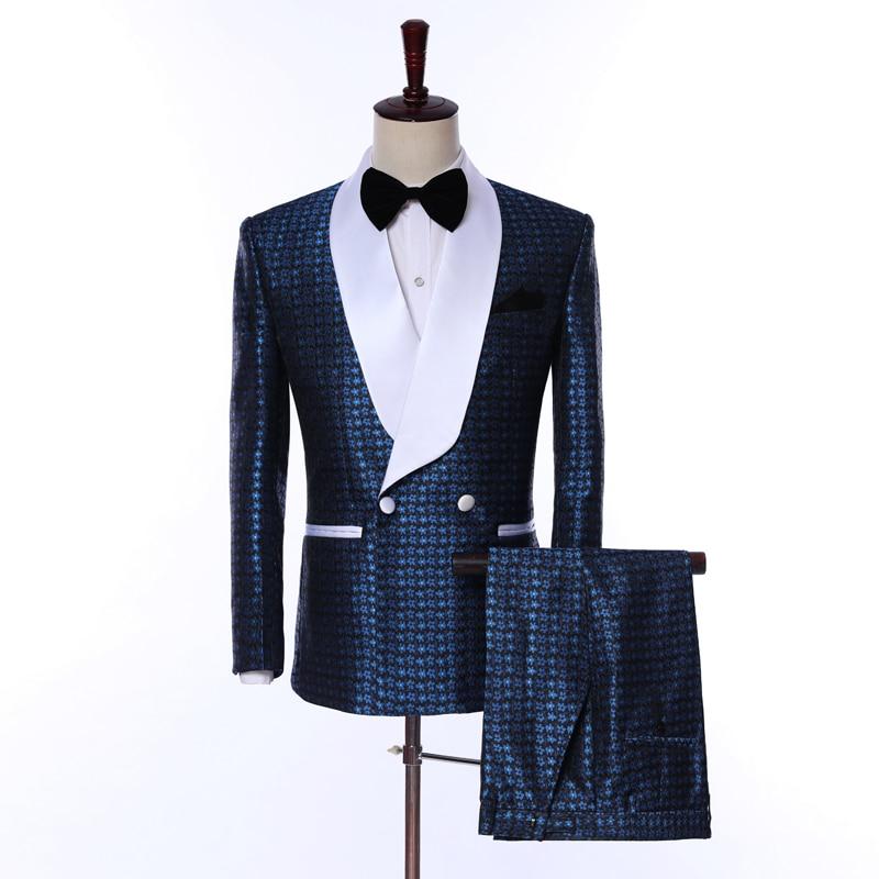 New Arrival Mens Suits Navy Bule 2019 Jacquard Groom Tuxedos Shawl Lapel Men Suits Wedding Suits ( Jacke (Jacket+Pants+Bow Tie)