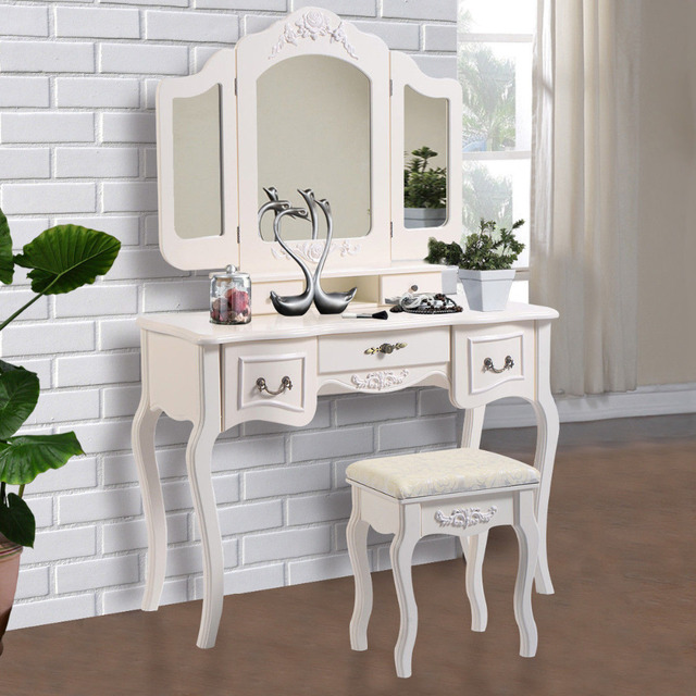 White Makeup Dressing Table Vanity and Stool Set Tri Folding Vintage Vanity Makeup Queen Table Set : vintage table set - Pezcame.Com