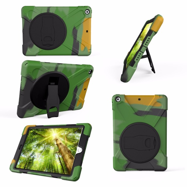 New 2017 2018 Case For iPad 9.7 A1822 A1823 Kids Safe Shockproof Heavy Duty Silicone Hard Cover kickstand Hand bracel + Stylus