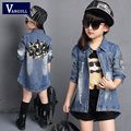 Children Denim Jacket 2016 Autumn Girls Cardigan Outerwear & Coat Girls Princess Long-Sleeved Trench Jacket Age 3-13 T