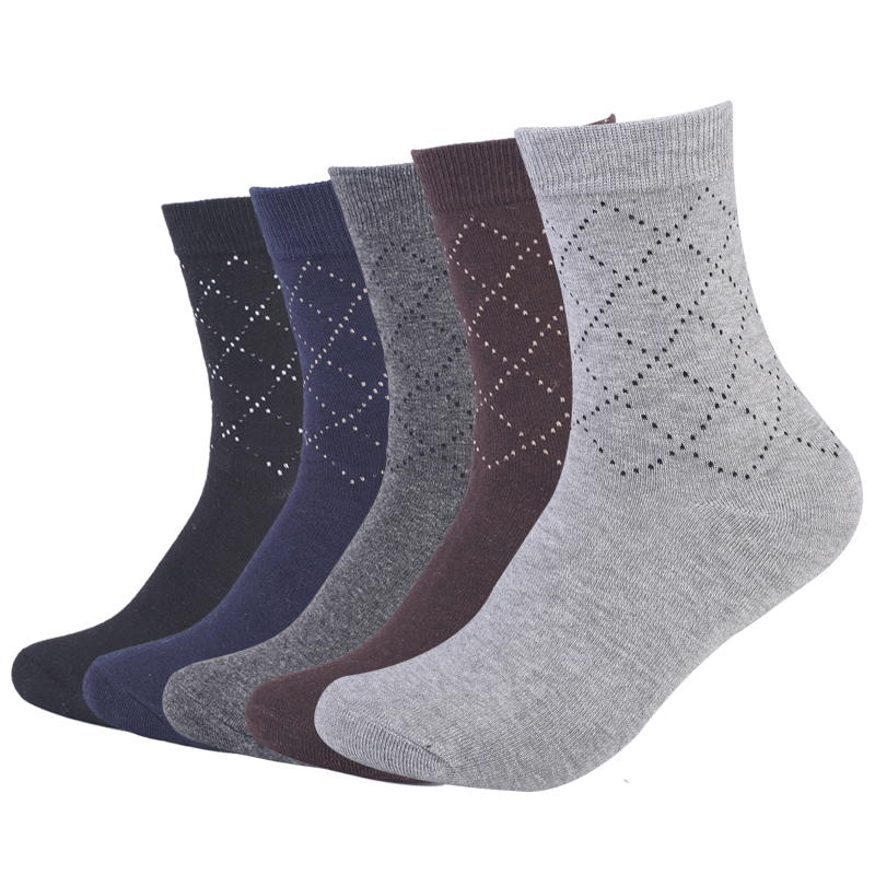 Eur40-44 men autumn winter diamond dotted line pattern business cotton socks male high quality long socks for man 5pairs/lot